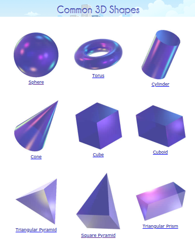 Common 3D objects