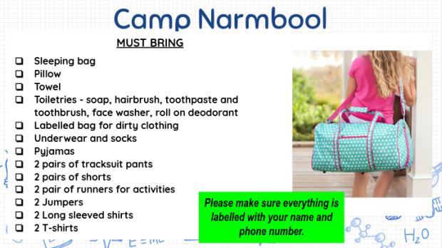 Camp Narmbool To Bring List